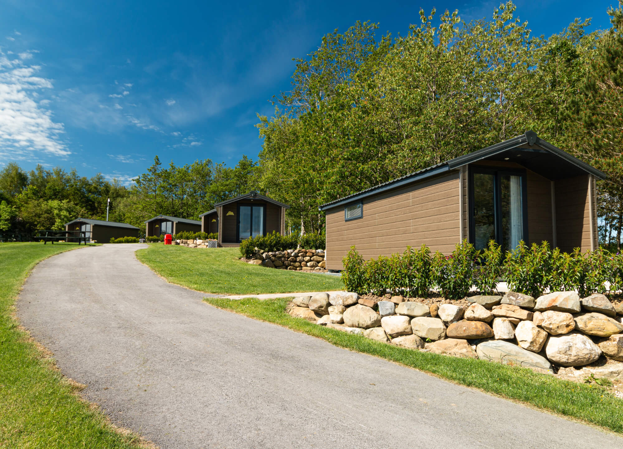 View of the lodges at Wenningdale Escapes